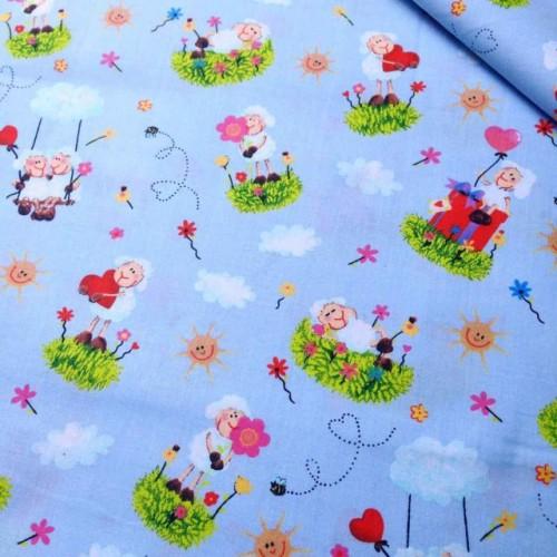 Ткань хлопок Овечки на голубом фоне