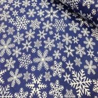 Ткань хлопок Снежинки на синем фоне, 40*50 см