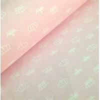 Ткань хлопок Белые короны на розовом фоне, 40*50 см