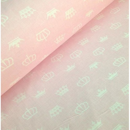 Ткань хлопок Белые короны на розовом фоне