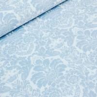 Ткань хлопок Дамаск голубой на белом фоне, 50*50 см