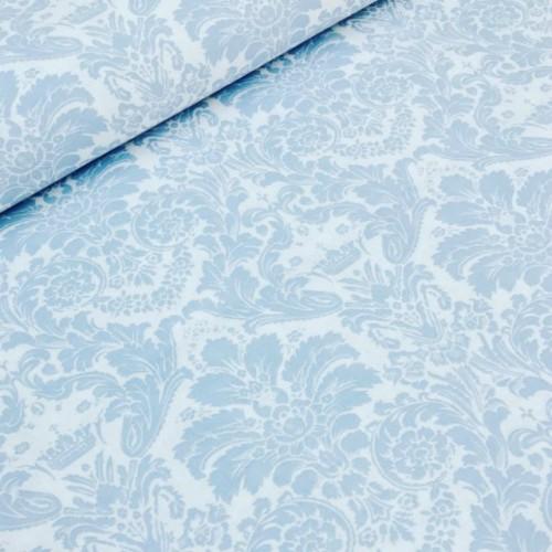 Ткань хлопок Дамаск голубой на белом фоне