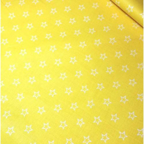 Ткань хлопок Контур звезды на желтом фоне фото