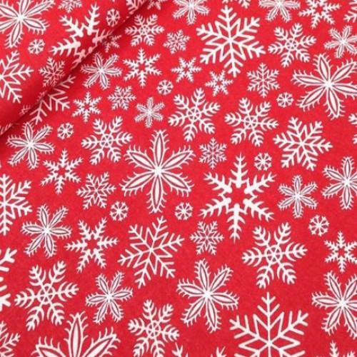Ткань хлопок Снежинки на красном фоне