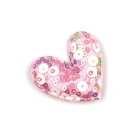 Патч тканевый сердце с пайетками розовое, 45*47 мм