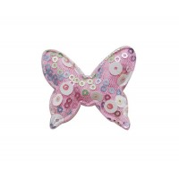 Патч тканевый бабочка с пайетками розовая, 48*40 мм