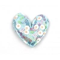 Патч тканевый сердце с пайетками голубое, 45*47 мм
