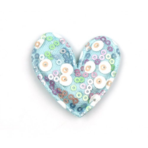Патч тканевый сердце с пайетками голубое, фото