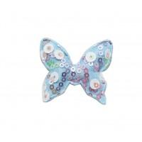 Патч тканевый бабочка с пайетками голубая, 48*40 мм