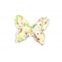 Патч тканевый бабочка с пайетками желтая, 48*40 мм