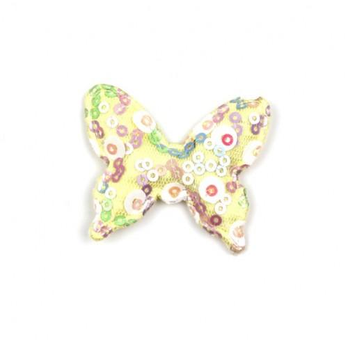 Патч тканевый бабочка с пайетками желтая, фото