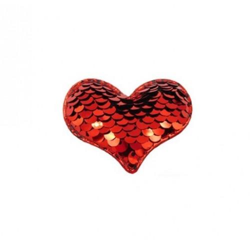 Патч сердце с пайетками красное, фото