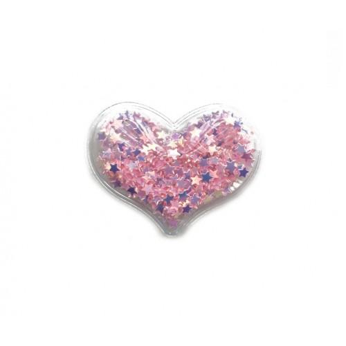 Патч силиконовый Сердце со звездами Светло-розовое, фото