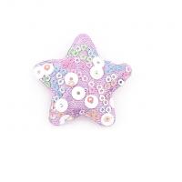 Патч тканевый звезда с пайетками сиреневая, 48*48 мм