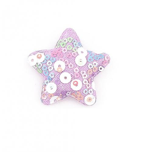Патч тканевый звезда с пайетками сиреневая, фото
