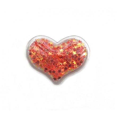 Патч силиконовый Сердце со звездами Красное, фото
