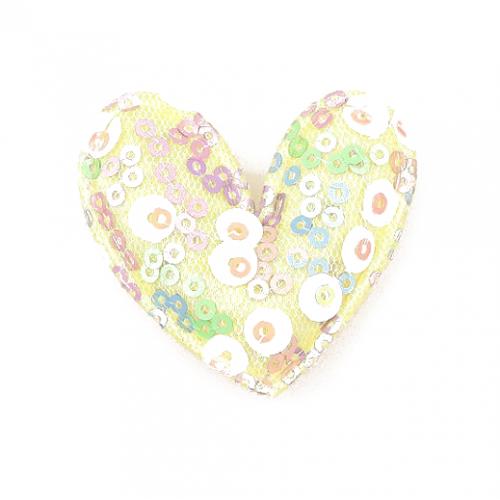 Патч тканевый сердце с пайетками желтое, фото