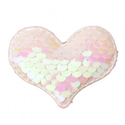 Патч сердце с пайетками белое, фото