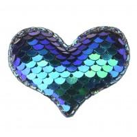 Патч сердце с пайетками бирюзовый, 42*32 мм