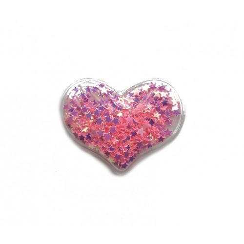 Патч силиконовый Сердце со звездами Розовое, фото