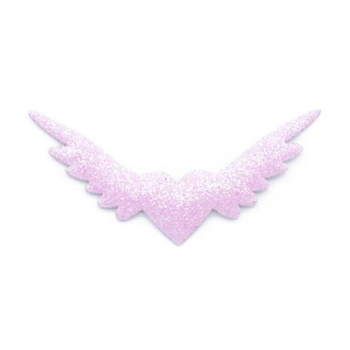 Патч Сердце с крыльями  с глиттером розовое
