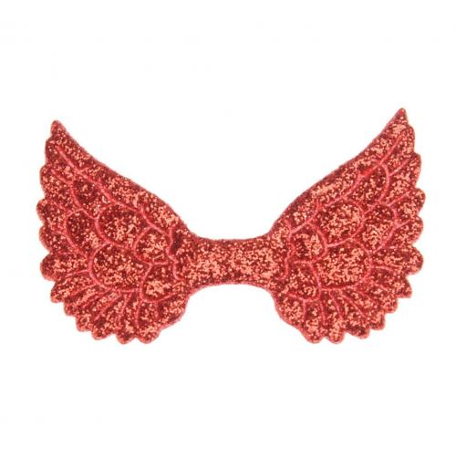 Патч Крылья с глиттером красные, 50х35 мм
