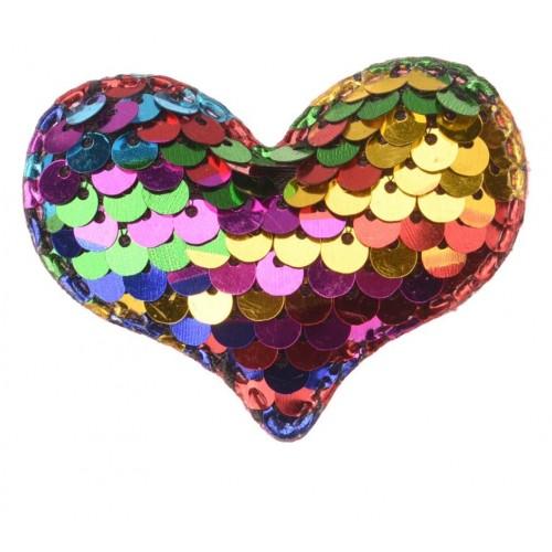 Патч сердце с пайетками ассорти, фото
