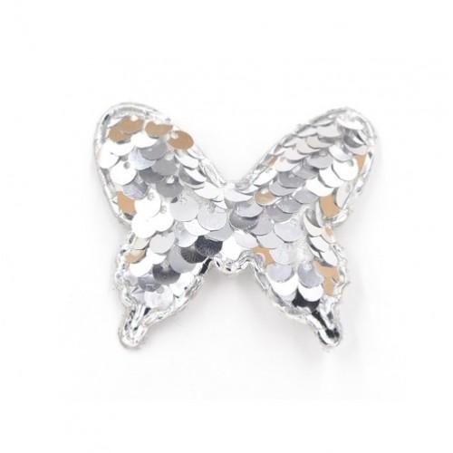 Патч бабочка с пайетками серебро, фото