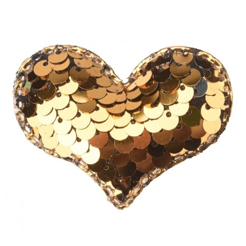 Патч сердце с пайетками золото, 42*32 мм