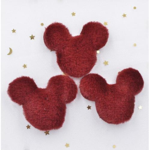 Патч меховой Микки Маус бордовый, фото