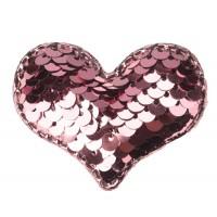 Патч сердце с пайетками розовое, 42*32 мм