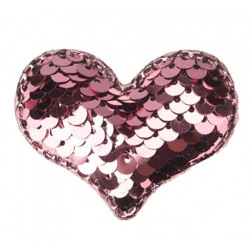 Патч сердце с пайетками розовое, фото