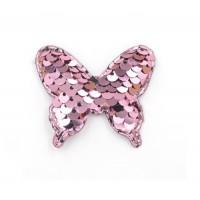 Патч бабочка с пайетками розовая, 52*44 мм