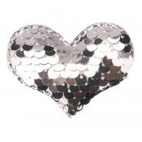 Патч сердце с пайетками серебро, 42*32 мм
