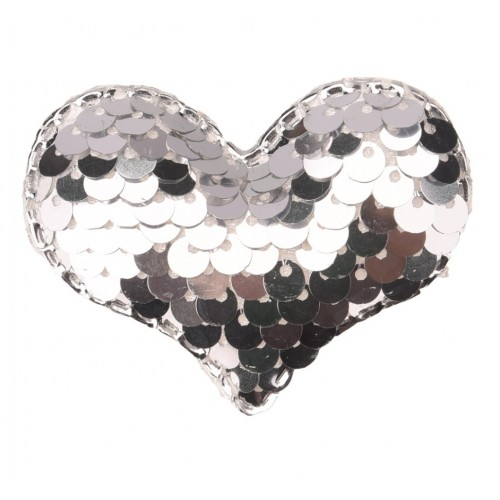 Патч сердце с пайетками серебро, фото