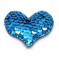 Патч сердце с пайетками синее, 42*32 мм