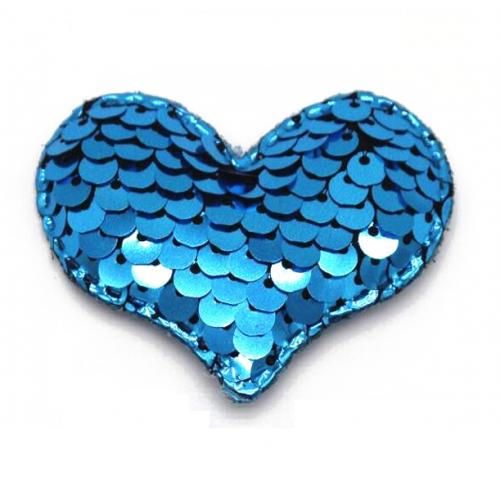 Патч сердце с пайетками синее, фото