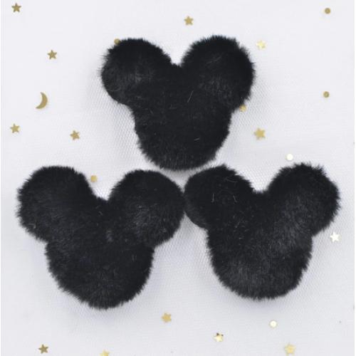 Патч меховой Микки Маус черный, фото