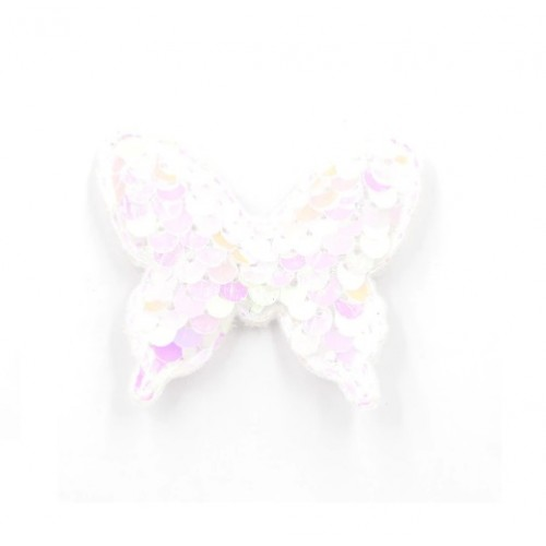 Патч бабочка с пайетками белая, фото