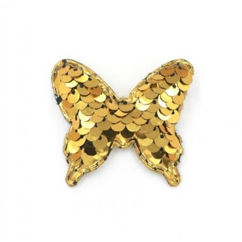 Патч бабочка с пайетками золото, фото