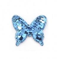 Патч бабочка с пайетками синяя, 52*44 мм