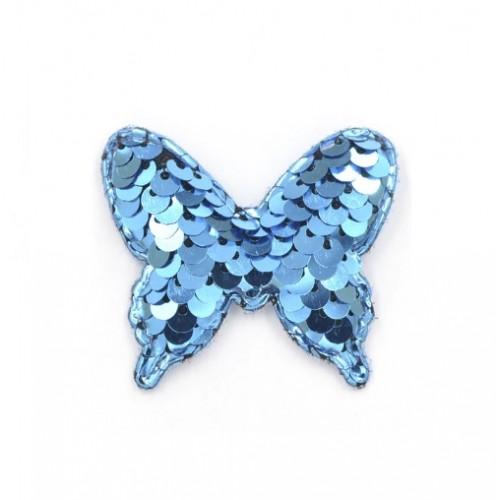 Патч бабочка с пайетками синяя, фото