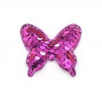Патч бабочка с пайетками малиновая, 52*44 мм