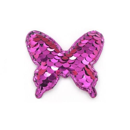 Патч бабочка с пайетками малиновая, фото