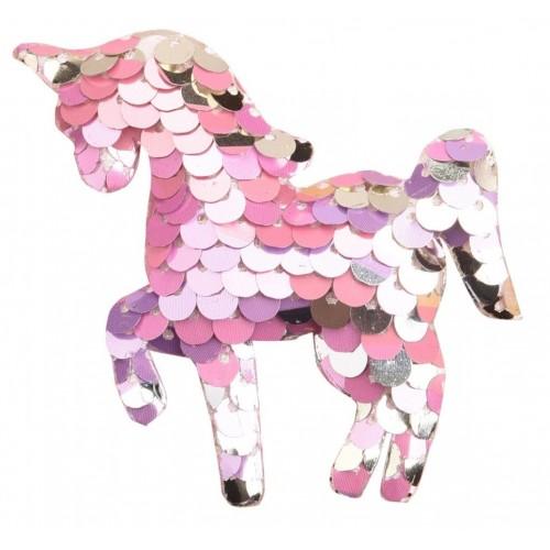 Патч единорог с пайетками розовый, фото