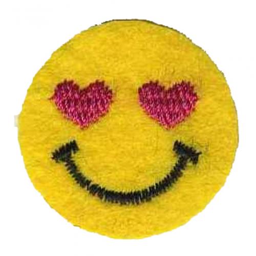 Термоапликация клеевая Смайлик с сердечками, фото