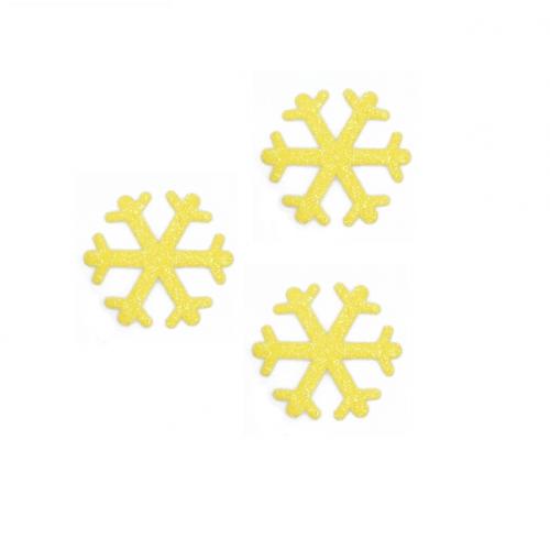 Патч Снежинка желтая с глиттером