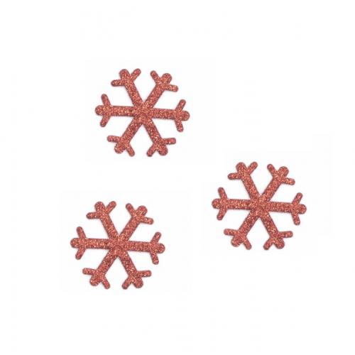 Патч Снежинка красная с глиттером