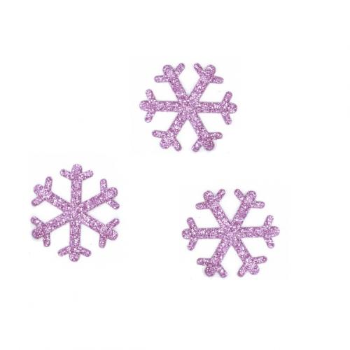 Патч Снежинка розовая с глиттером