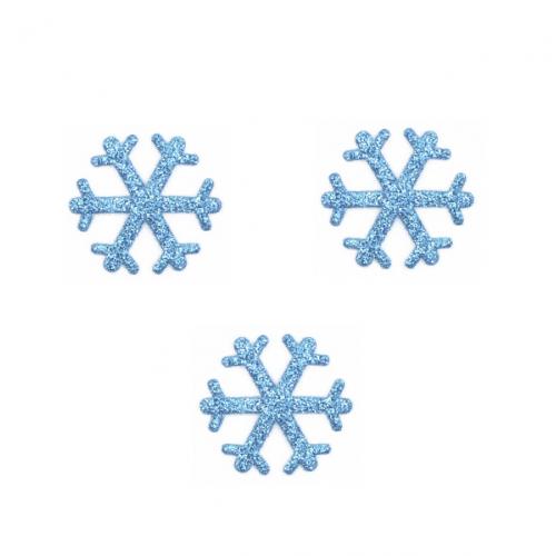 Патч Снежинка голубая с глиттером
